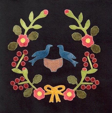 1847 Baltimore Bride's Quilt Block #9 Love Birds