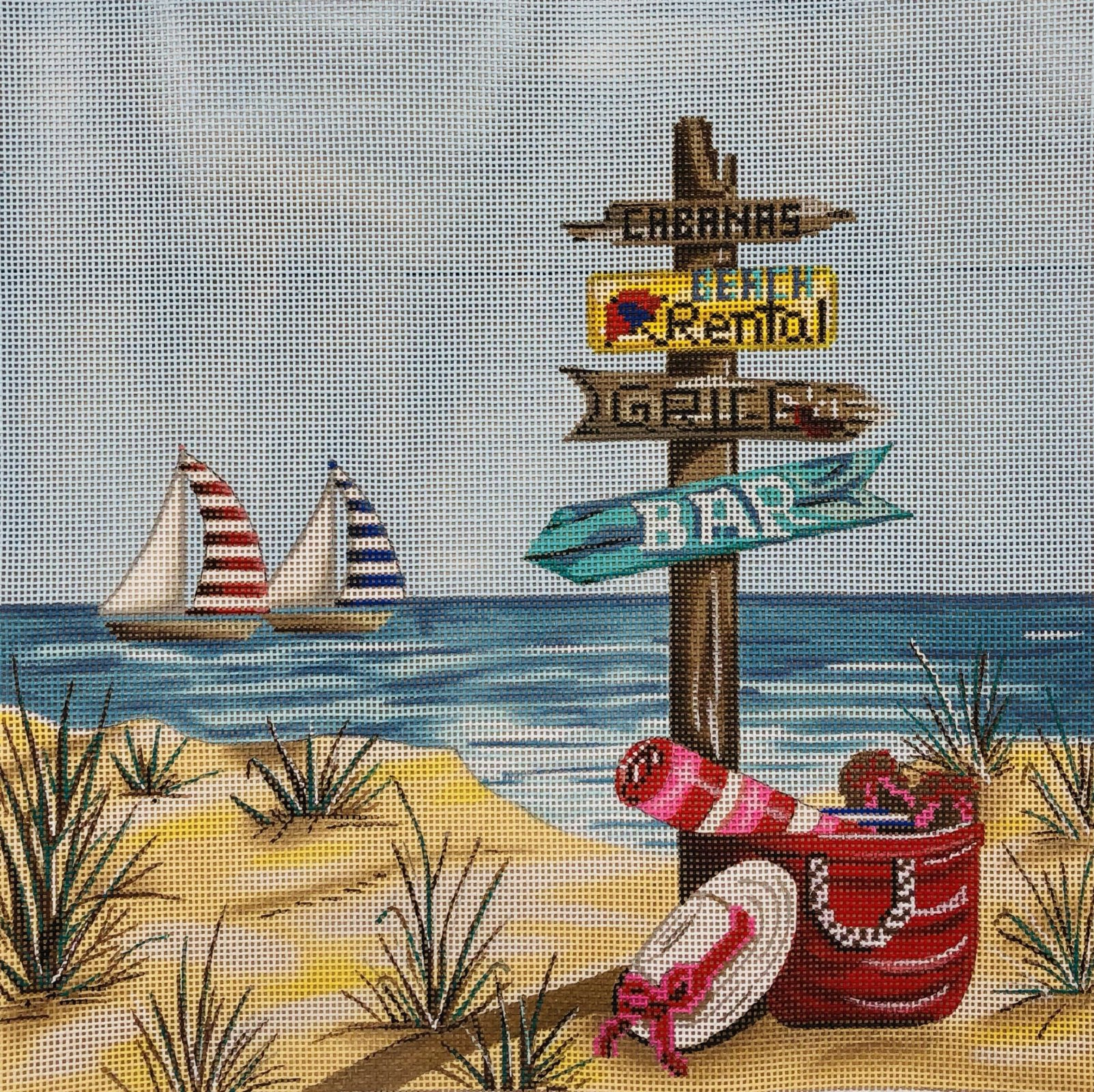 PC-Beach Scene with Sign Post  10 x 10  18M