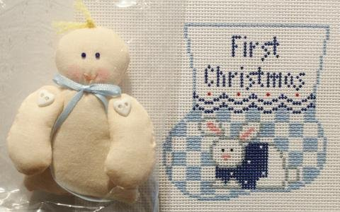 PC-First Christmas Blue Bunny w/Baby  18M
