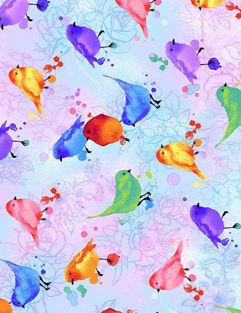 Watercolour Pastel Birds - Timeless Treasures - 100% Cotton