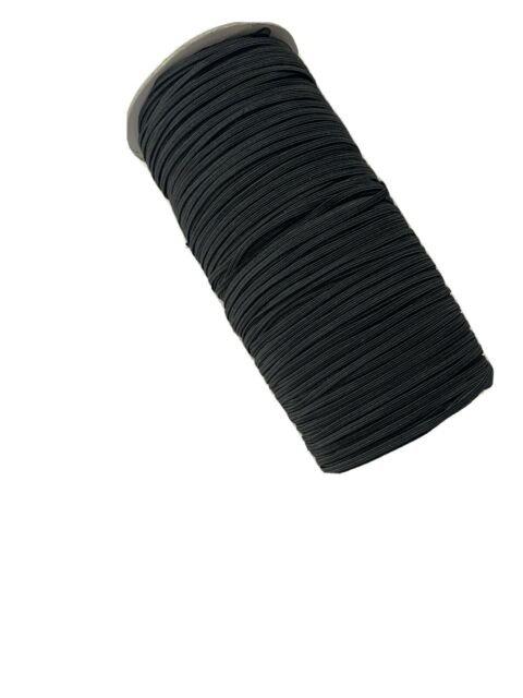 Elastic - Round Fabric Cord/Rope - Black - 4.4mm