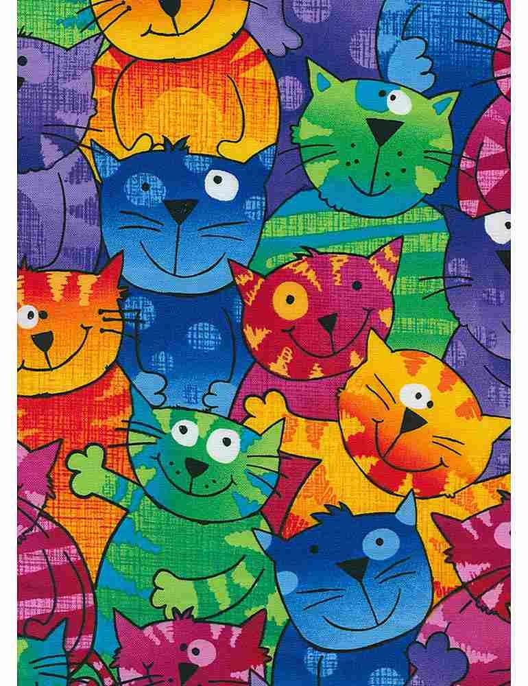 Crazy Kitty Happy Cats - Timeless Treasures - 100% Cotton
