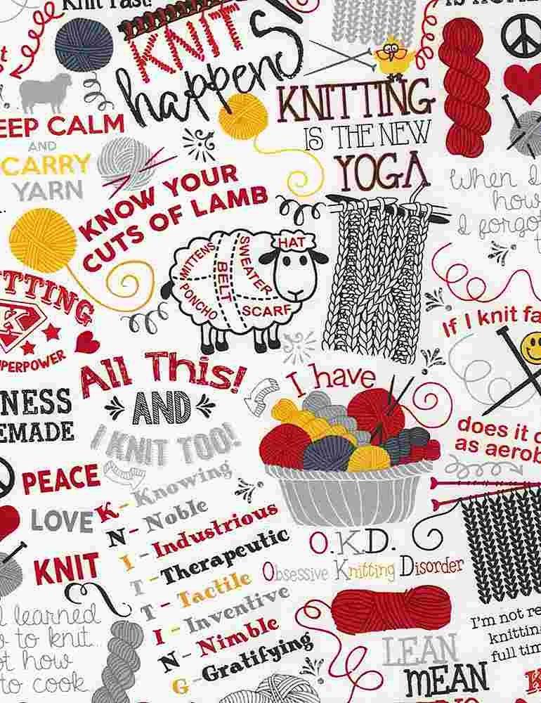 Knitting Jokes - Timeless Treasures - 100% Cotton