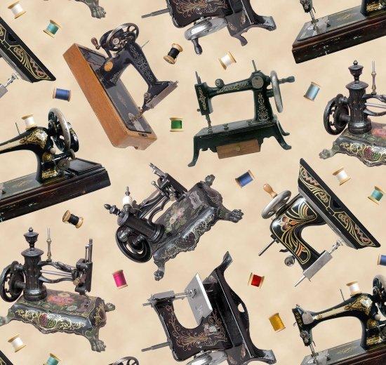 Sewing Machines - A Stitch in Time -  Elizabeth Studio - 100% Cotton