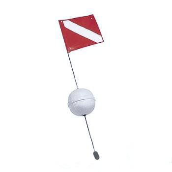 4fl Ball Float with Stiffener Flag 14 x 18 Red/White