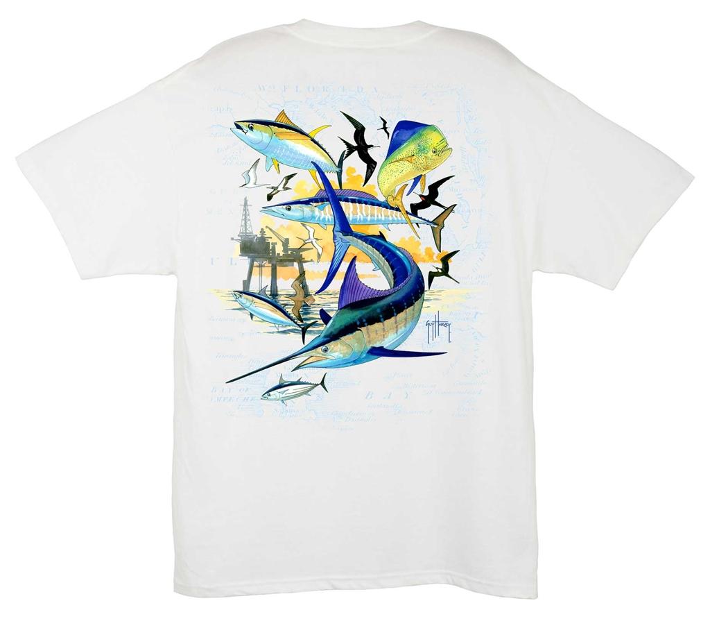 Guy Harvey Oil Rig Collage Shirt