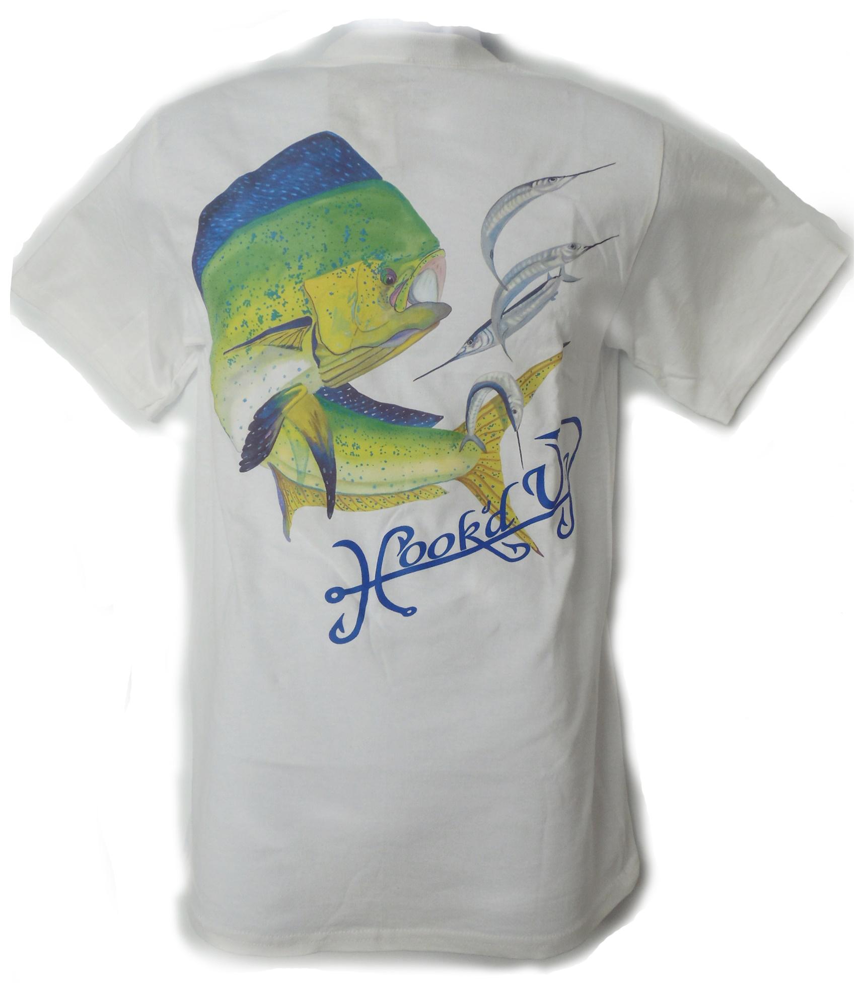 Hook'd Up  Dorado with Ballyhoo Short Sleeve Shirt 3XL White