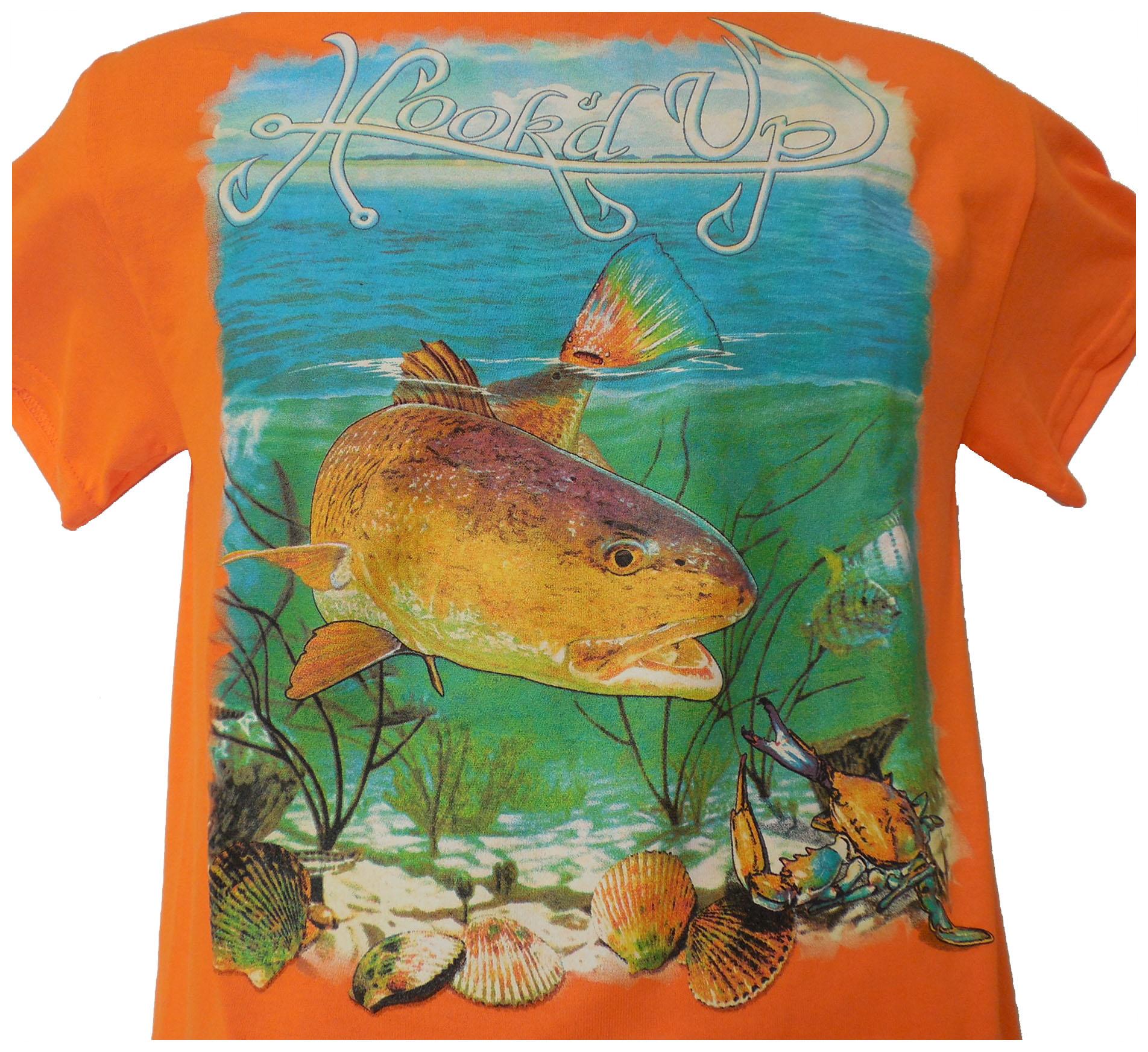 Hook'd Up  Redfish Short Sleeve Shirt L Orange