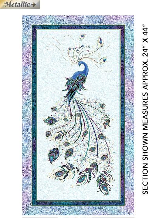 Peacock Flourish - Panel - Lt Teal