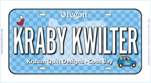 Fabric License Plate  - Fun Size - 2019 Kraby Kwilter