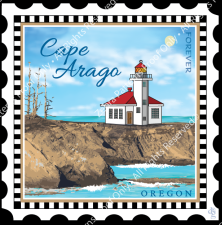 Charm Stamp - Cape Arago Lighthouse