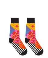 Womens Crew Sock - Flowers & Stripes