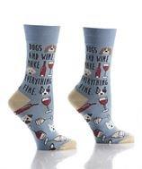 Womens Crew Sock -  Dogs & Wine