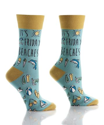 Womens Crew Sock - Seaside Friday