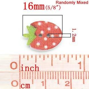 Wood Button - Strawberries