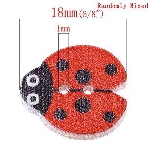 Wood Button - Ladybugs
