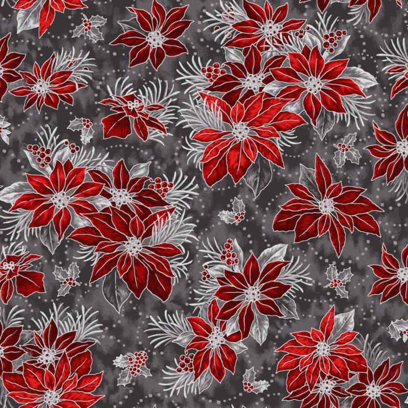 Noel Med Poinsettia & Holly -Red/Gray