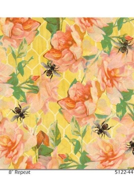 Bee Sweet Peach Flowers on Yellow