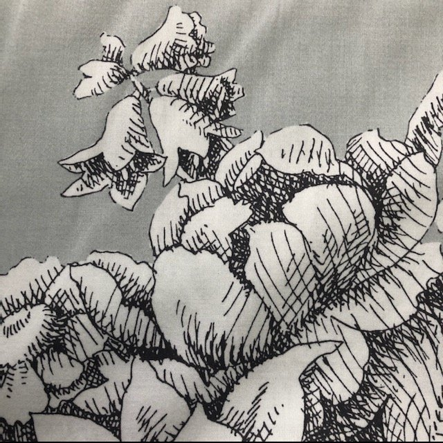 108 Wide Backing - Stone Flower/Grey