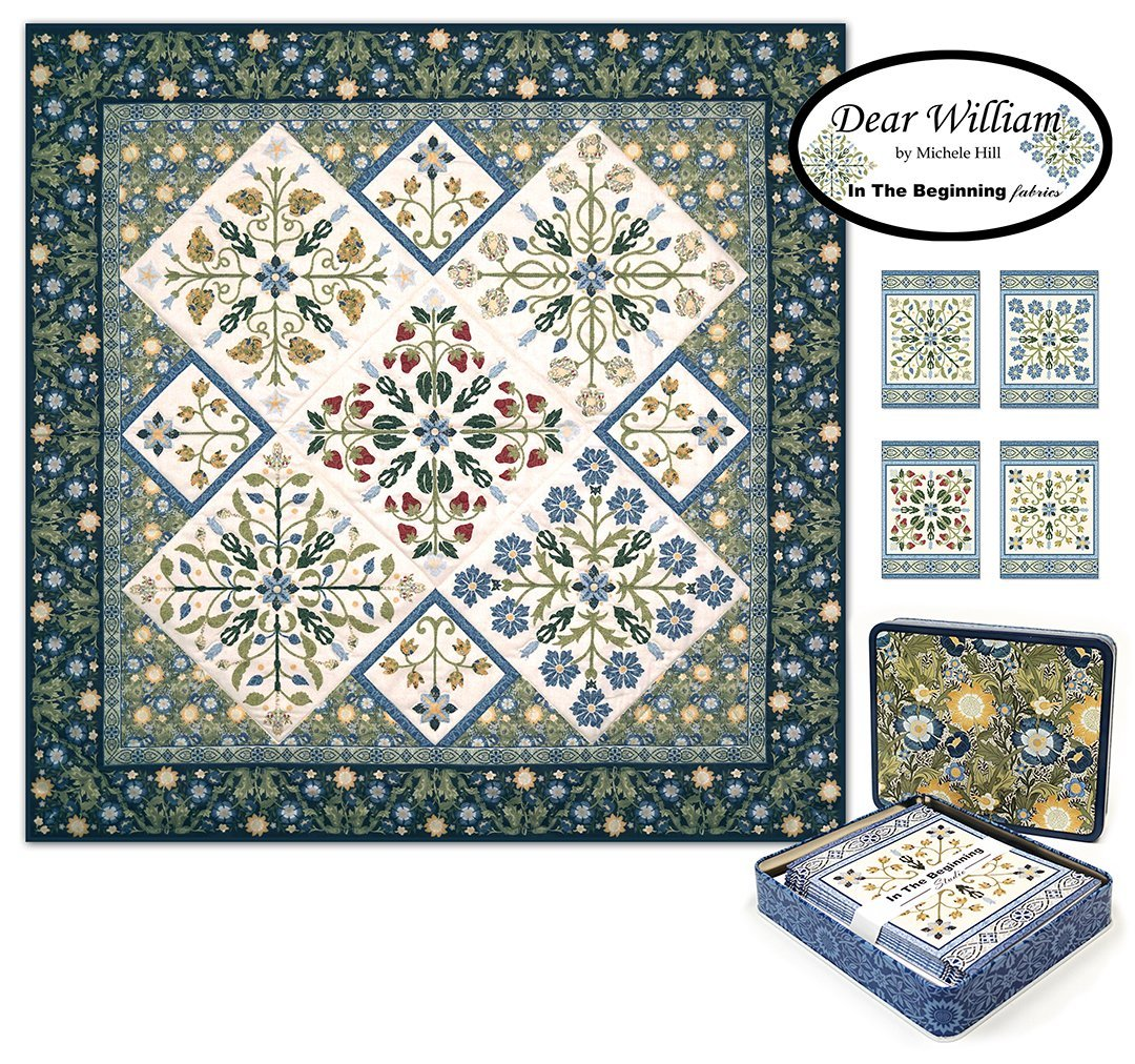 Dear William Note Cards Set with Mini Quilt Panel