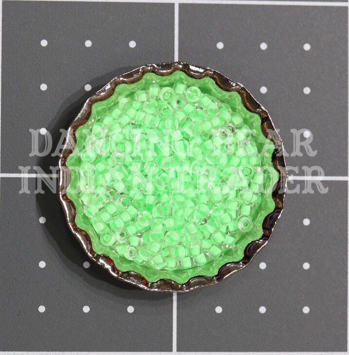 110-206D Crystal Neon Mint Color-Lined Japanese 11/0