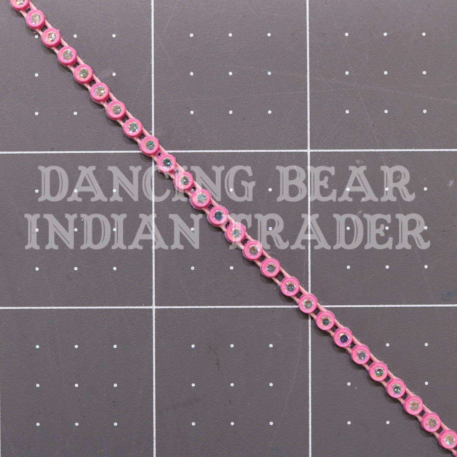 17pp-ss8 Crystal AB/Pink Background, 1 yard Rhinestone Banding