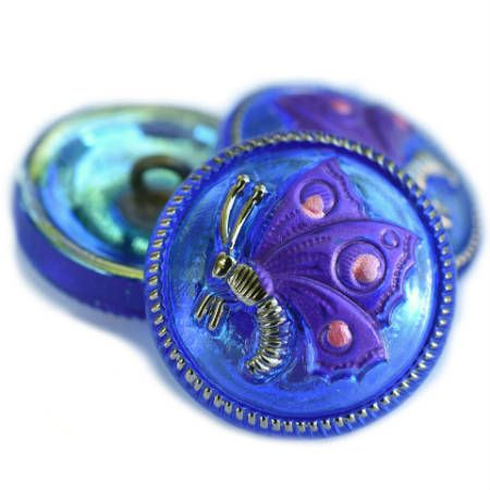 18mm Butterfly Button Cobalt with AB Finish and Purple Pansy