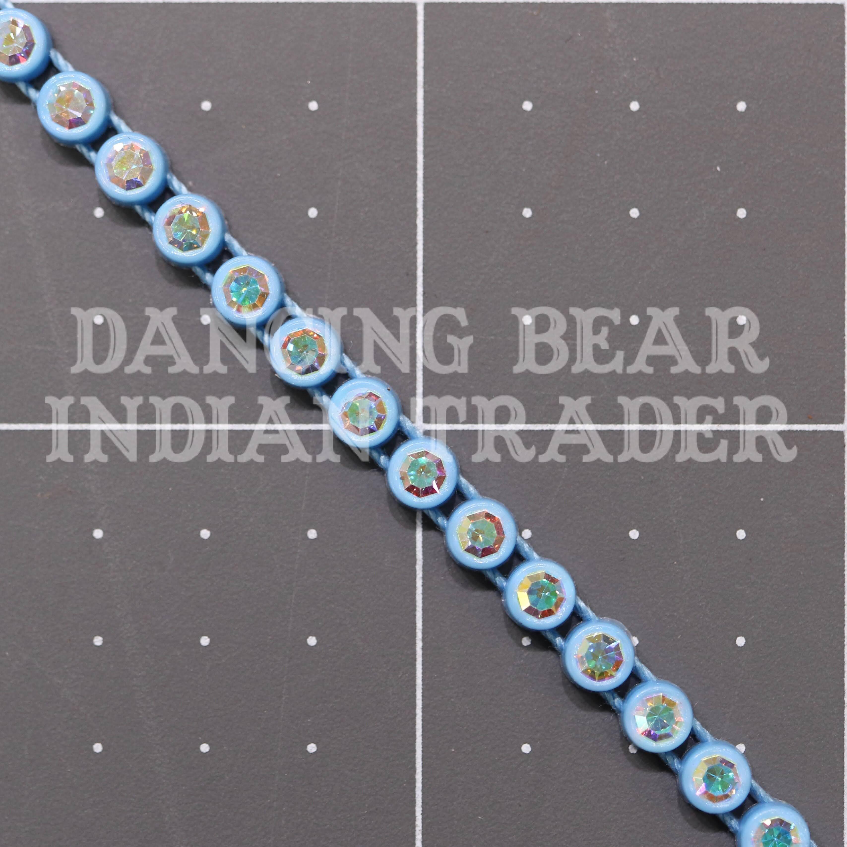 26pp-ss13 Crystal AB/Sky Blue Bkg, 1 yard Rhinestone Banding