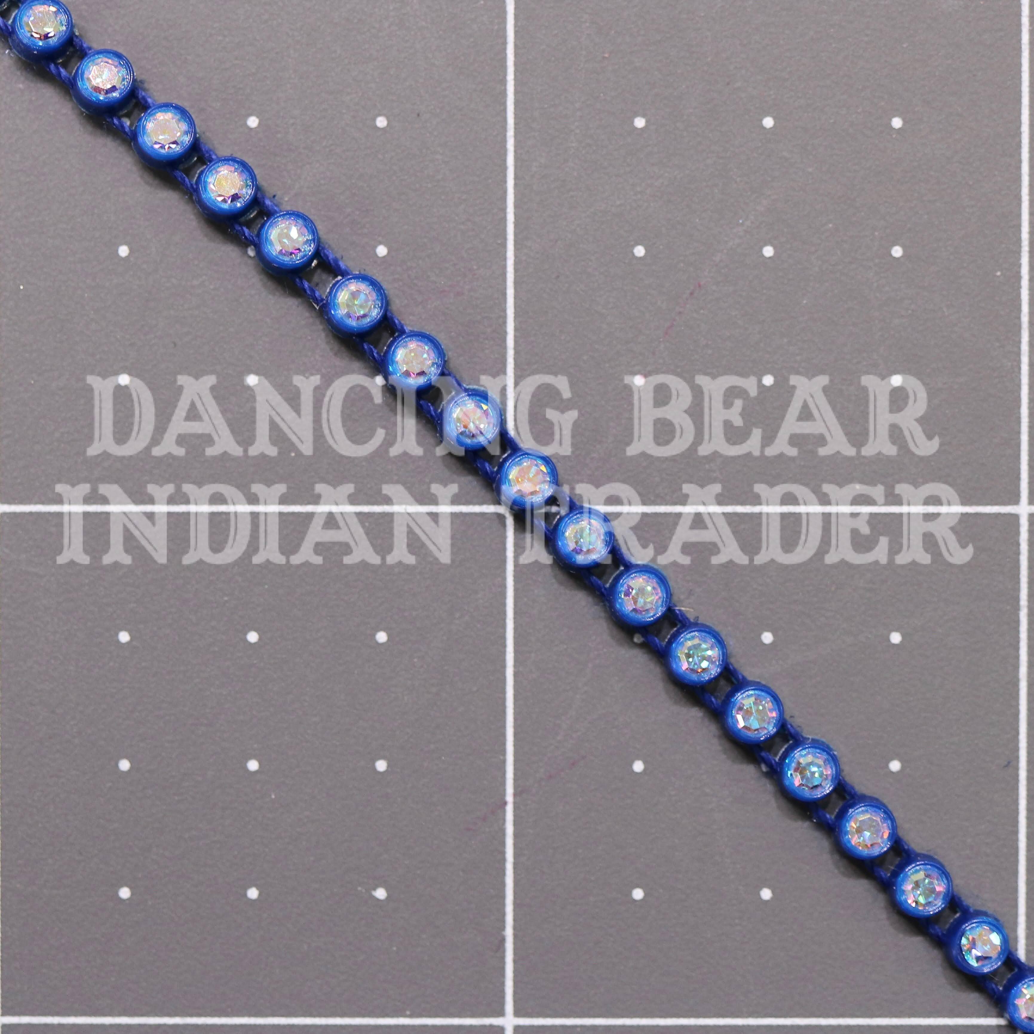 17pp-ss8 Crystal AB/Navy Blue Bkg, 1 yard Rhinestone Banding
