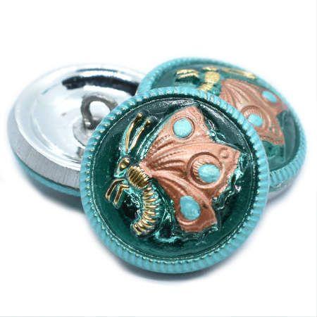 18mm Button Butterfly Sea Green Copper