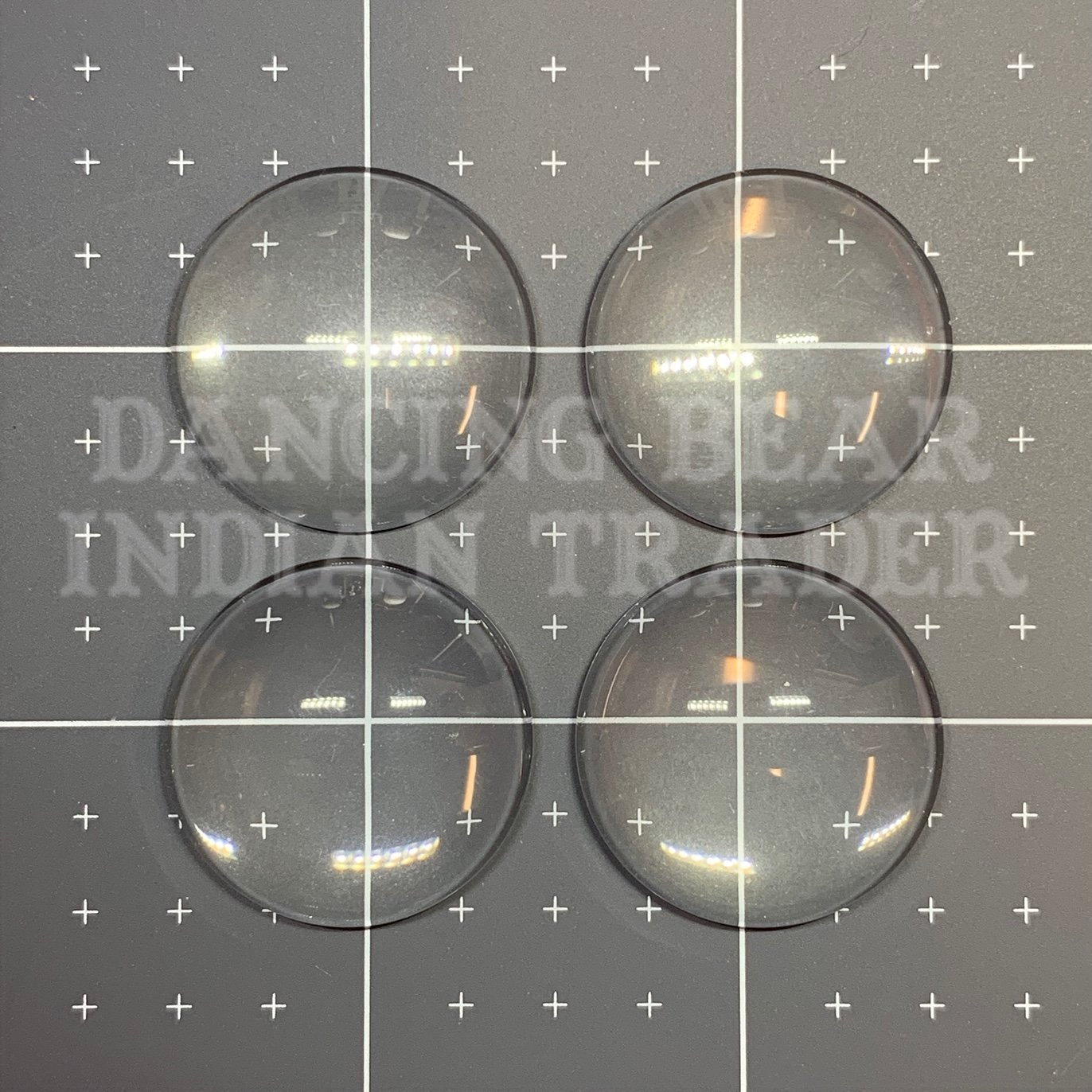 Glass Cabochons Round, Clear 25mm, 4pcs