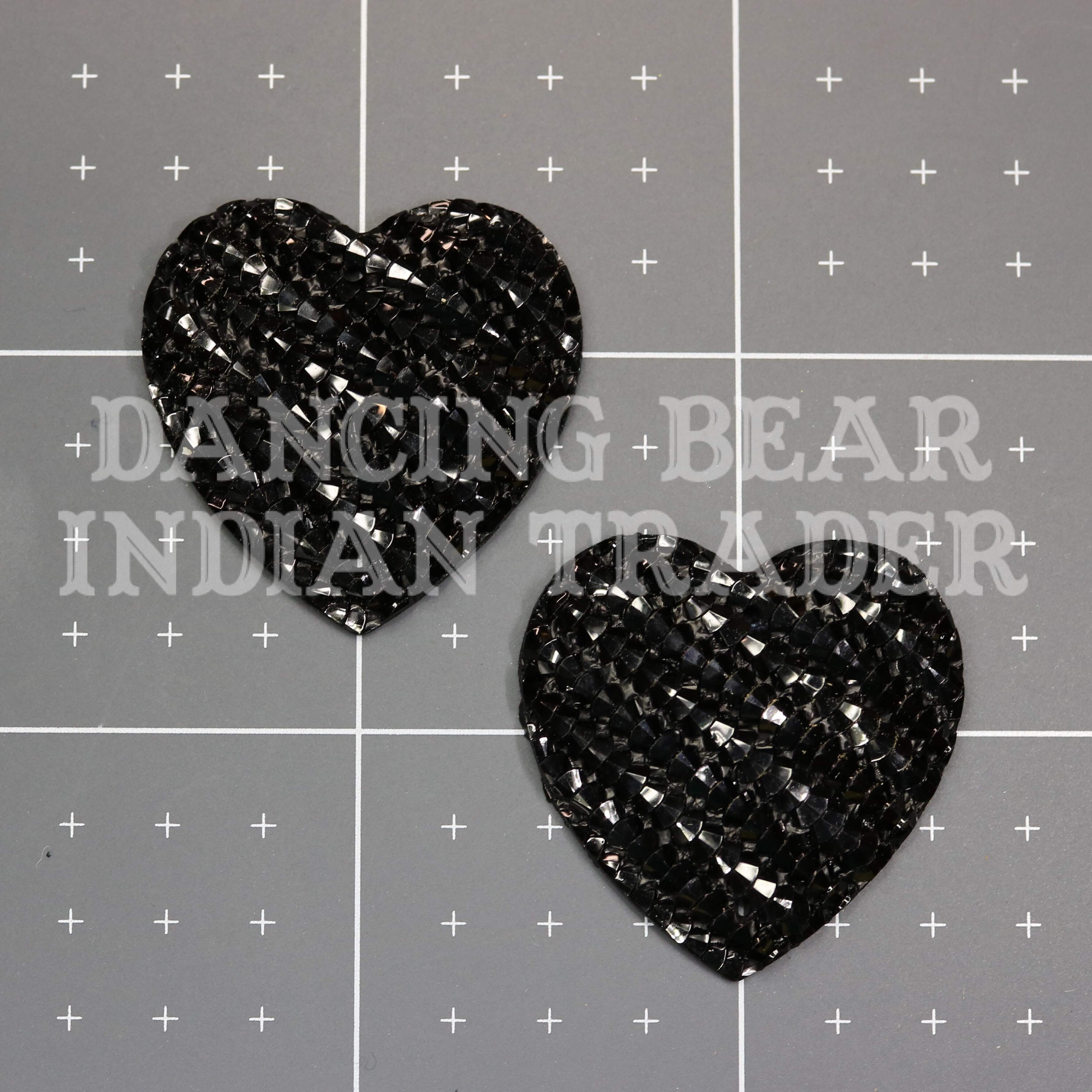 Sparkle Berry Stripe Heart 30mm, Resin Cabochon