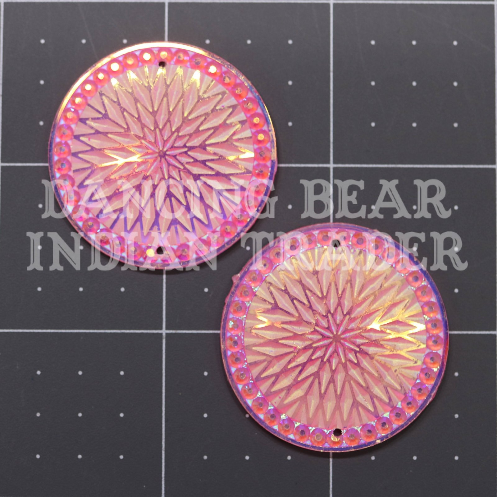 Sparkle Berry Star Round 35mm Resin Cabochon 1 pair
