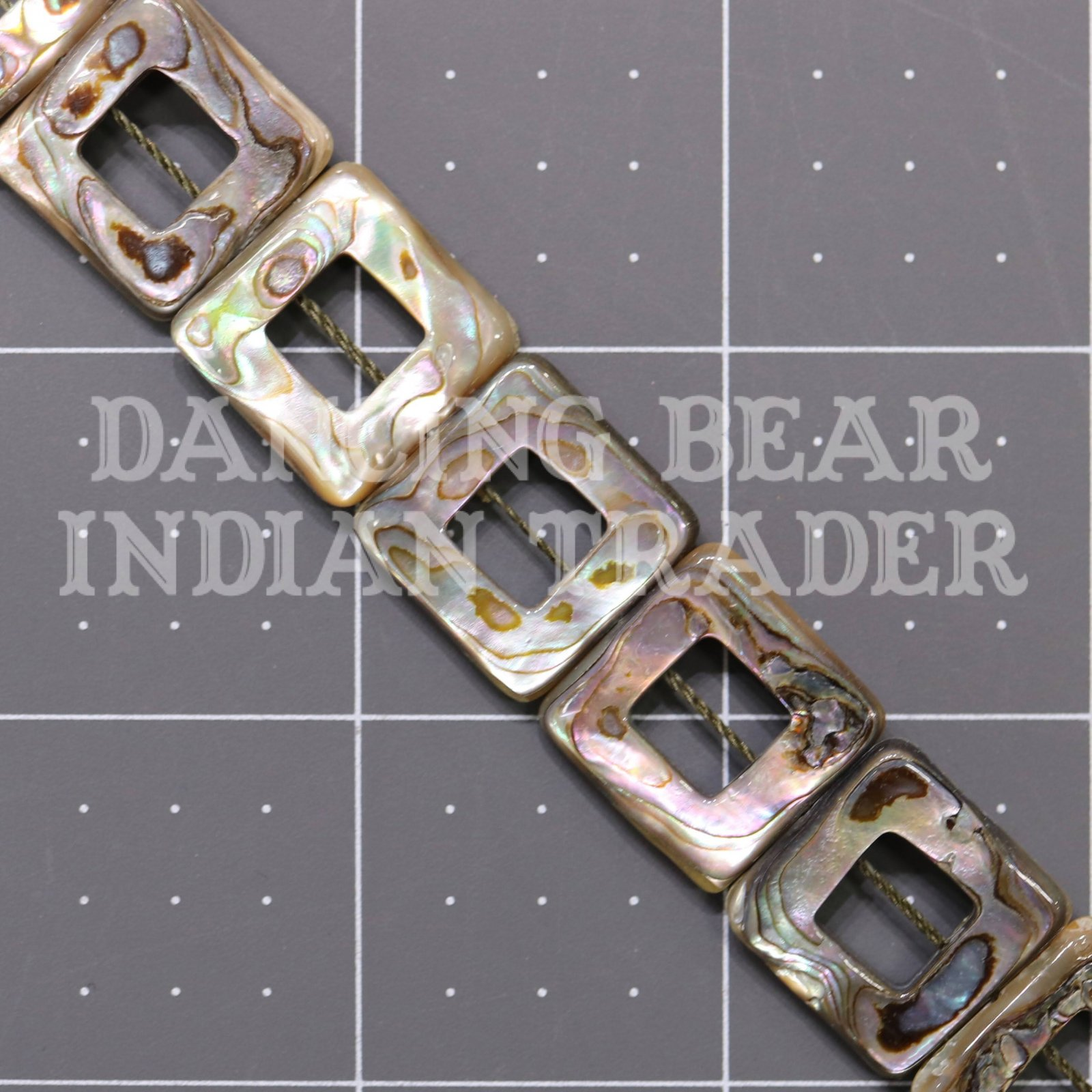 Abalone 18mm Square Hollow Strand