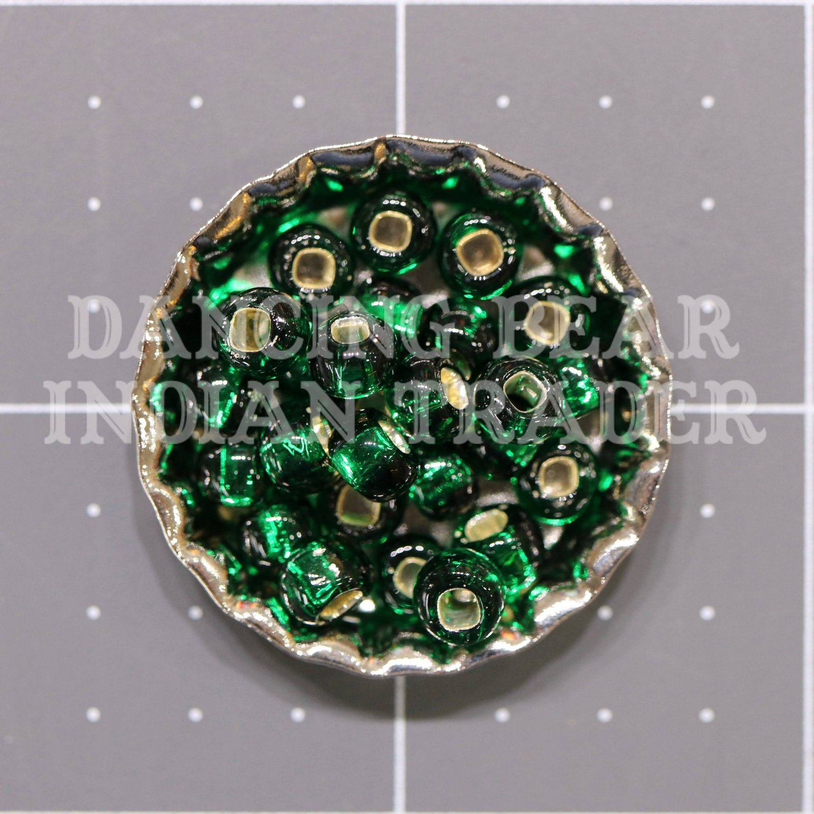 30-16A Xmas Green Silver Lined Japanese 3/0
