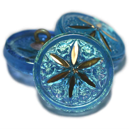 18mm Button Star Flower Pacific Blue AB Finish Gold Star