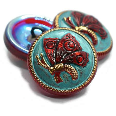 18mm Button Butterfly Red Tiffany Green Gold  Black Wash AB Finish