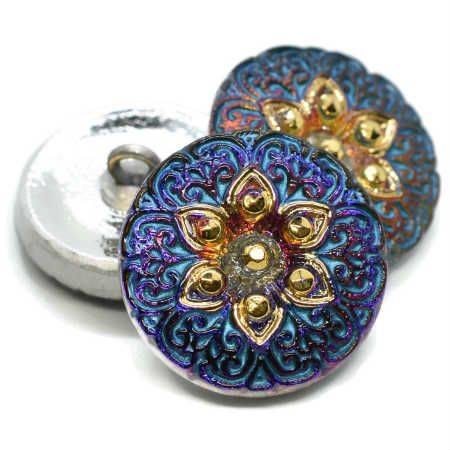 18mm Button ArabiStar Volcano Turquoise Wash Gold Accents