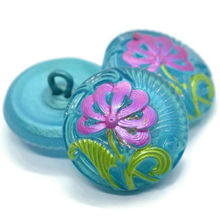 18mm Button Pincushion Flower Tiffany Pink Green Accents