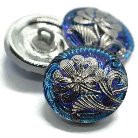 18mm Button Pincushion Flower Medium Sky Blue Sapphire Silver Accents