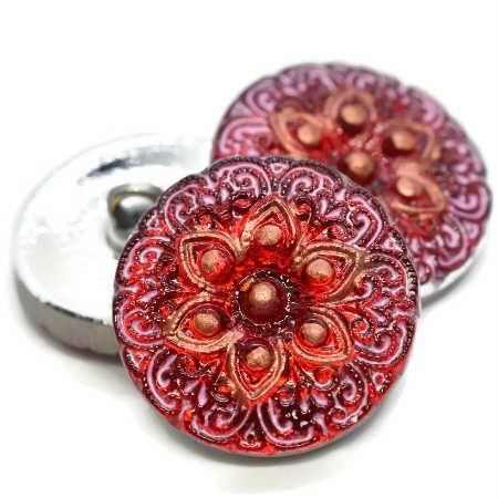 18mm Button ArabiStar Scarlet Red Pink Wash Copper Center