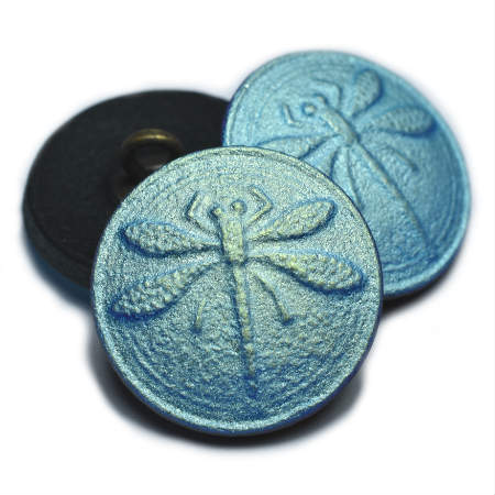 18mm Button Dragonfly Black Matte AB Finish