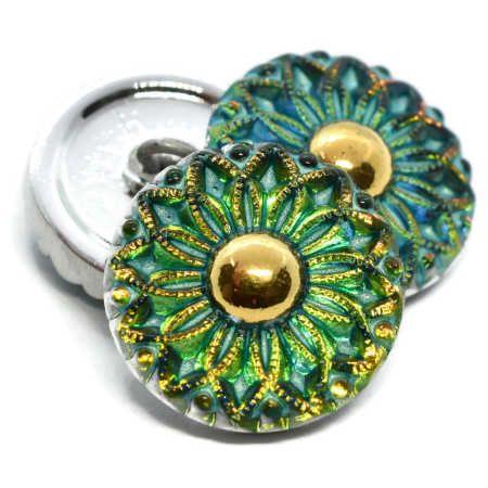 18mm Button Collarette Flower Vitrail medium gold accents