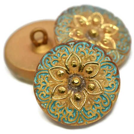 18mm Button ArabiStar Gold Tiffany Green