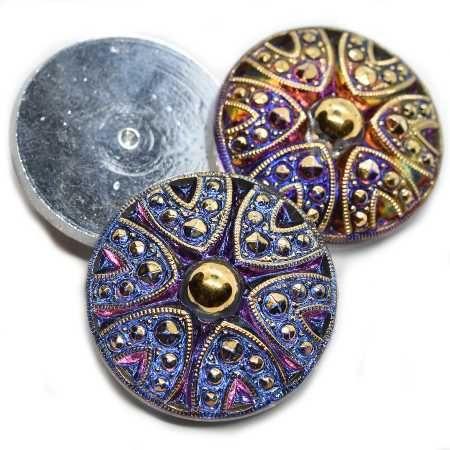 27mm Cabochon Decorative Button Volcano Gold Accents