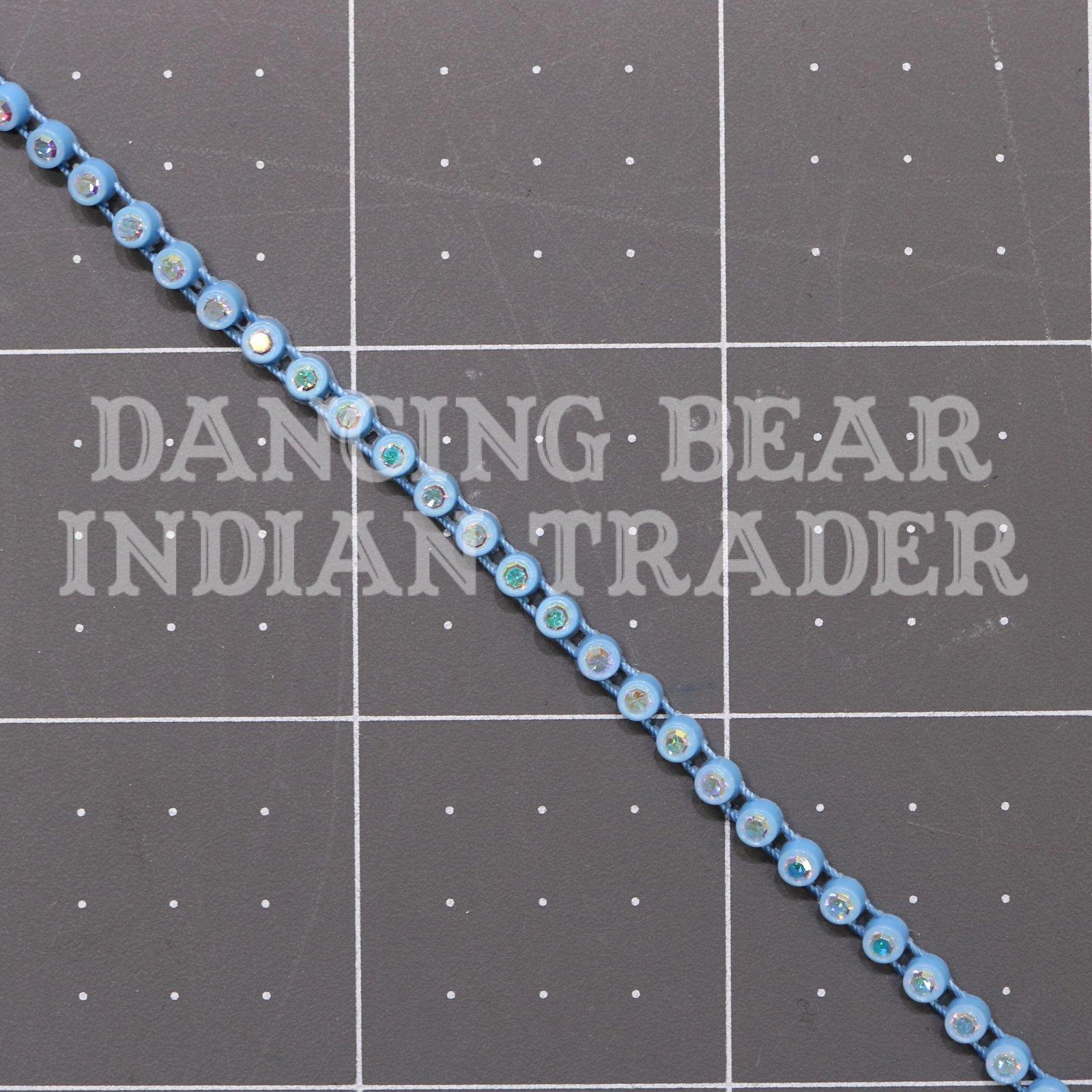 17pp-ss8 Crystal AB/Sky Blue Bkg, 1 yard Rhinestone Banding