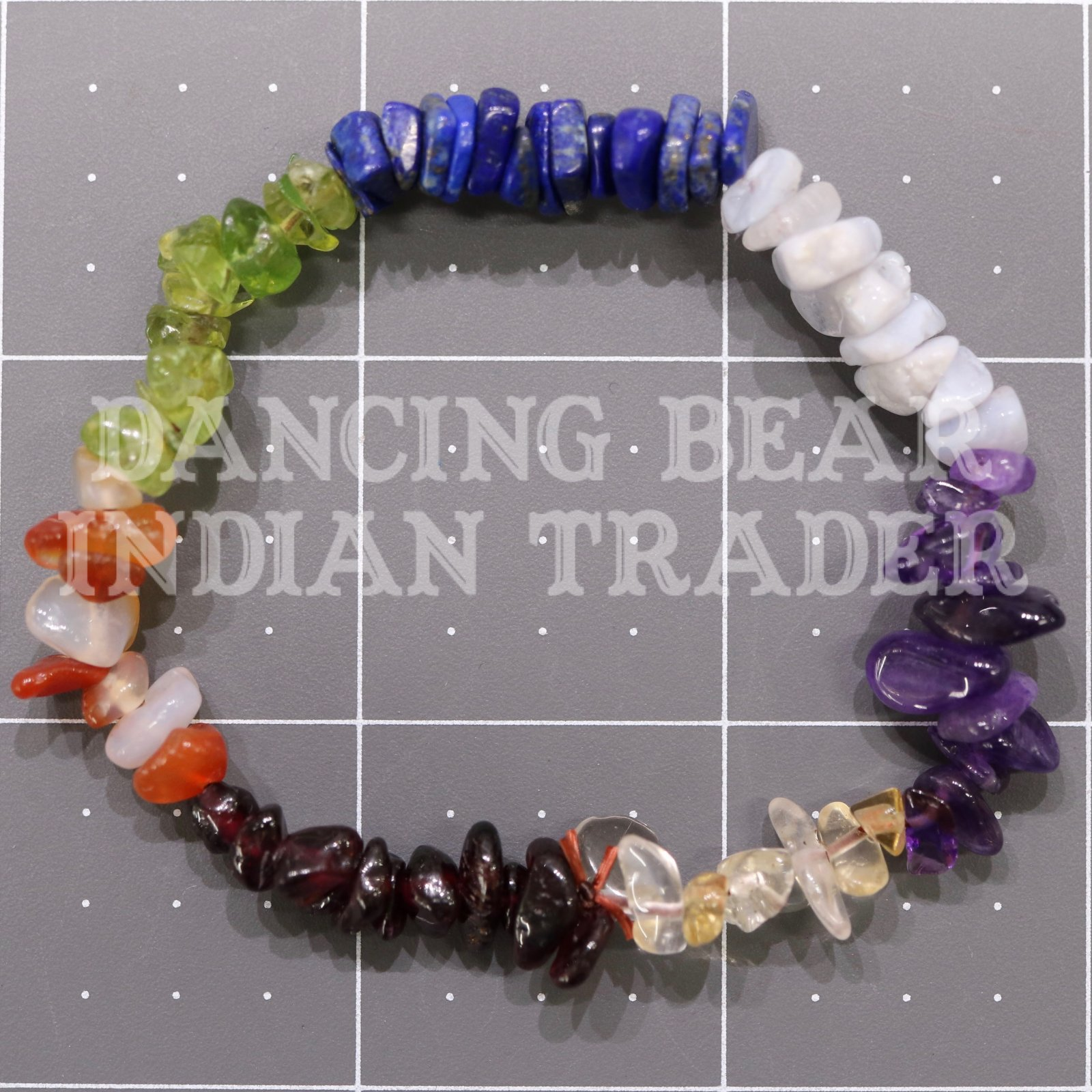 Seven Stone Chakra Chip Bracelet