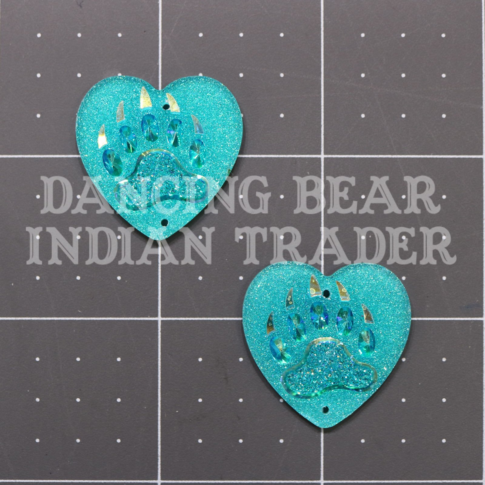 Sparkle Berry Bear Paw Heart 25mm Resin Cabochon