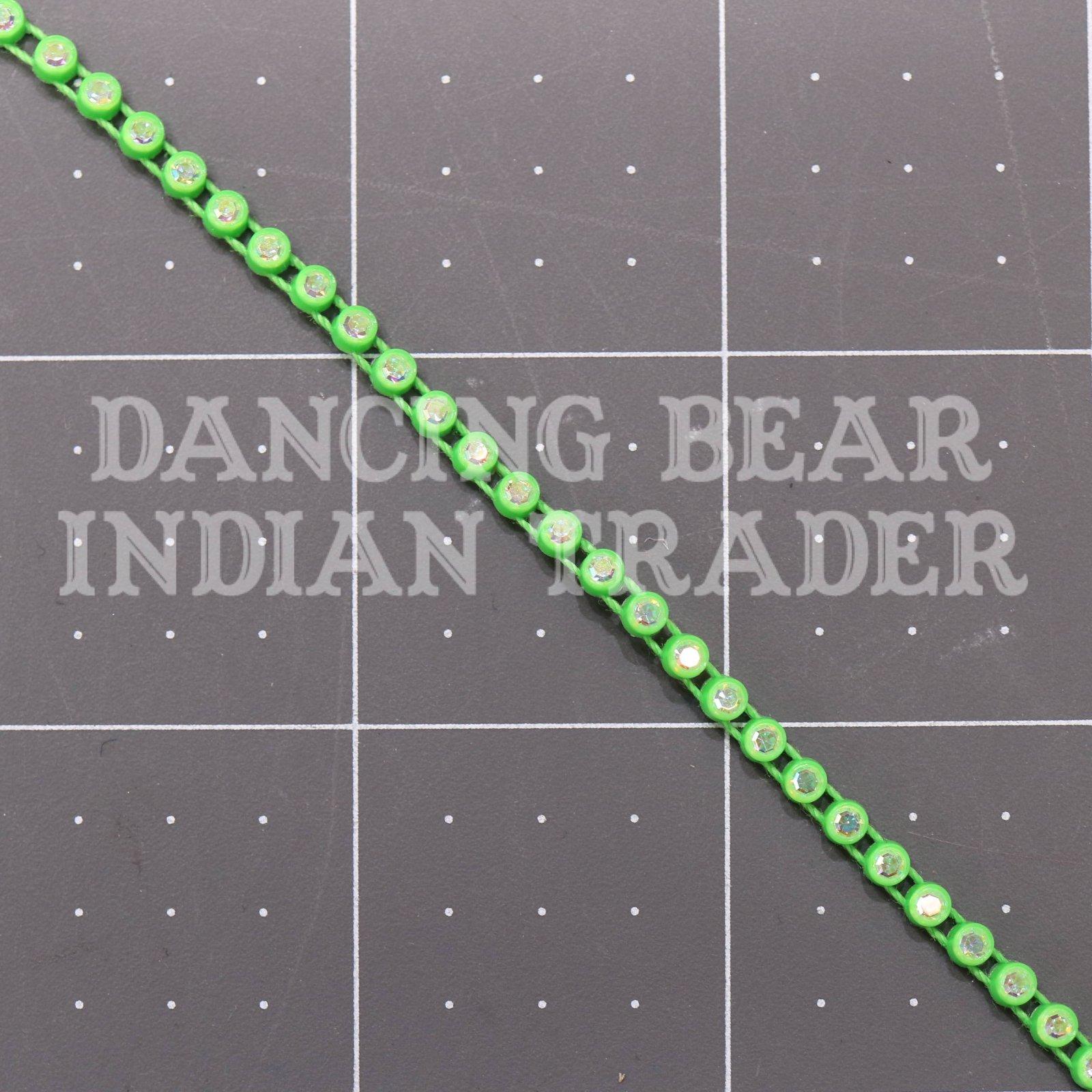 17pp-ss8 Crystal AB/Acid Green Bkg, 1 yard Rhinestone Banding