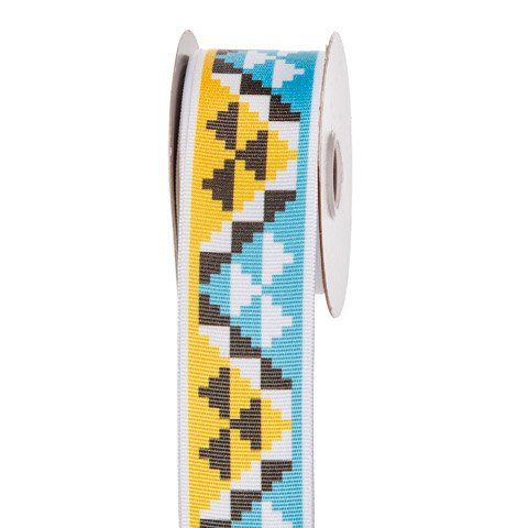 Blue & Yellow Aztec Print Ribbon Grograin